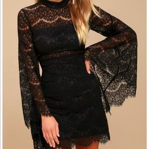 Lulus Bewitching Babe Black Bell Sleeve Dress